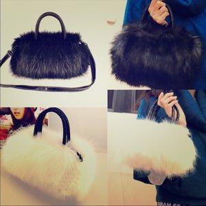 Handbags - Faux Fur Shoulder Clutch Hobo Bag Purse Wallet